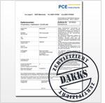Exemplo de certificado de calibração DAkkS para equipamentos de prova