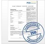 Exemplo de certificado de calibração ISO para os instrumentos de prova