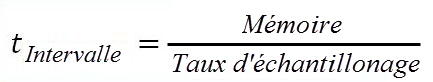 Oscilloscope: Formule du temps d'intervalle entre deux échantillonnages