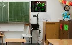 Grossanzeige zur CO2 Messung in im Klassenzimmer.