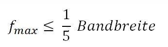 Oszilloskop - Formel der max Frequenz in Abhängigkeit der Bandbreite