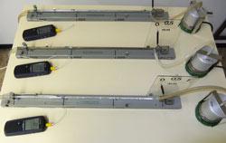 Thermometer in einem Versuchsaufbau