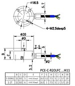 Force Sensor PCE-C-R20LFC-H11 series 5-2000 kg - diagram
